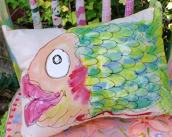 Big Fish Pillow Hand Painted YelliKelli Made To Order