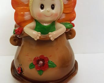 Ceramic Bank - Sunflower Girl with Ladybugs and Flowers