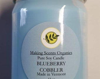 Making Scents Organics Blueberry Cobbler Soy Candle Made in Vermont with High Quality Oils.