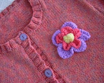 Girls Sweater Handknit Cotton Rayon Cardigan Size 12-14