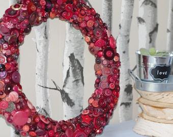 Red Button Wreath, Rustic Home Decor, Decorative Wreath, Christmas Wreath, Christmas Decoration