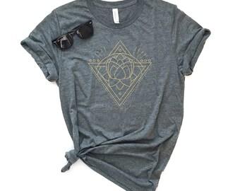 Lotus Triangle Short Sleeve Tee - Unisex Tee, Graphic Tee, Positivity Tee, Minimal Tee, Simple Tee, Flower, Sacred, Yoga Shirt, Rise Above