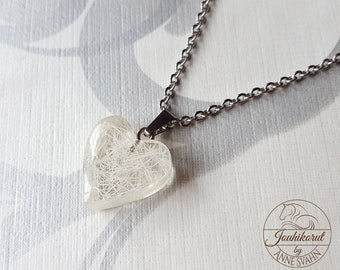 Heart necklace with horse hair inside