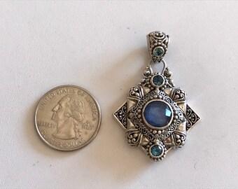 Mother of Pearl, Quartz Pendant With Blue Topaz-Gemstone Pendant