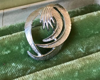 Vintage Retro Brooch Silver Toned, Sarah Coventry, Art Deco Style