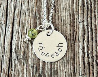 Misneach Irish Gaelic Necklace, Courage Necklace, Irish Sayings Necklace, Irish Gaelic Translation Courage, Irish Charm Necklace
