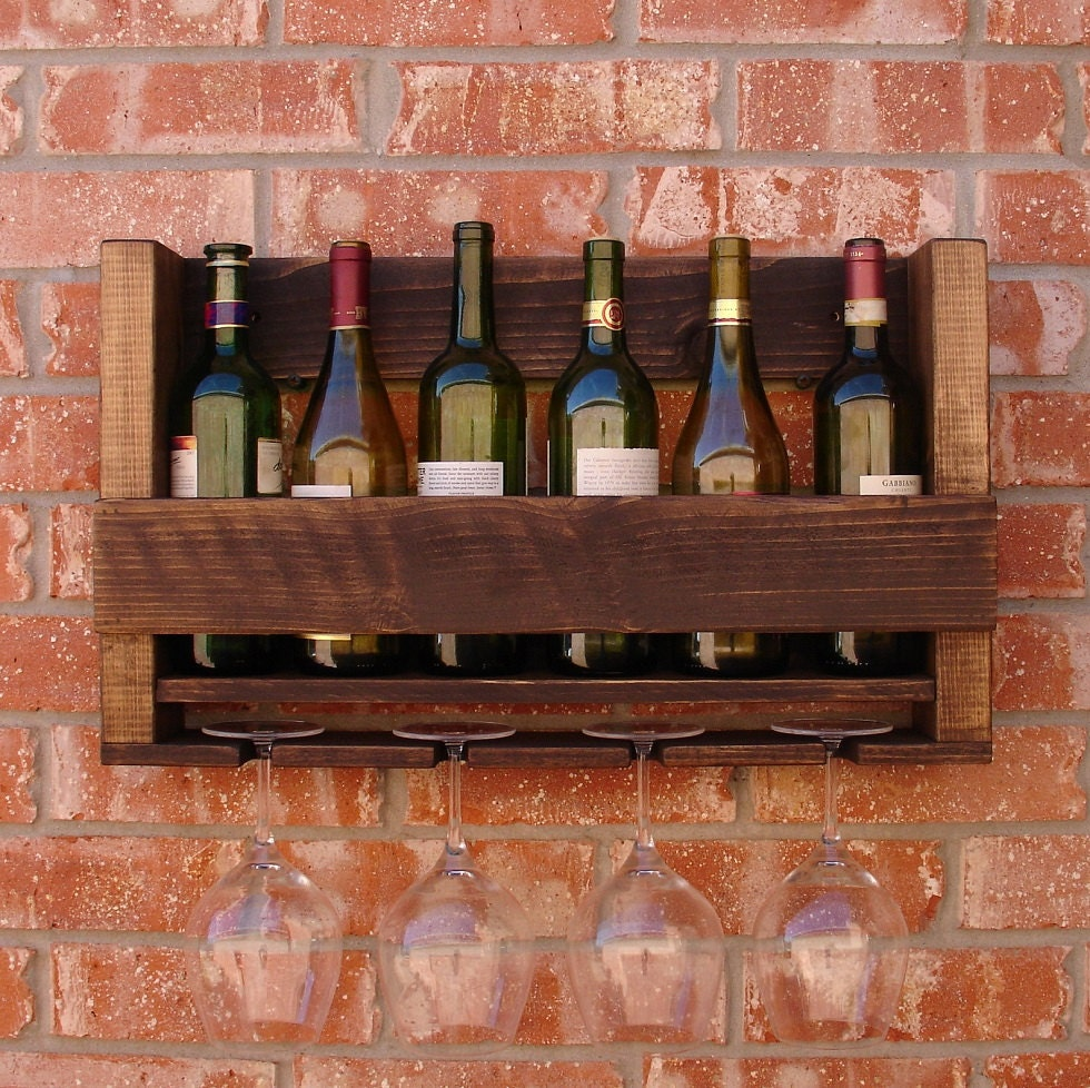 READY TO SHIP! Rustic 6 Bottle Wine Rack with 4 Glass Holder