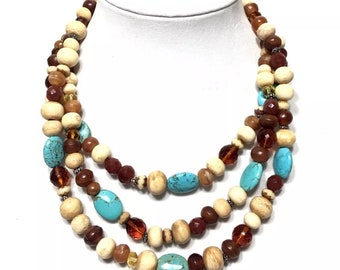 R.J. Graziano Turquoise Lucite Beaded 3 Strand Statement Necklace