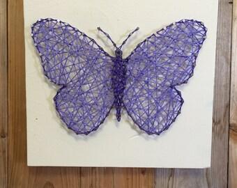 Butterfly String Art - Butterfly Decor - String Art - Little Girls Room Decor - Decor for a Girl's room - Purple Girl Decor - Nursery Decor