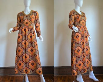 Late 1960s Montaldo's Folkloric Paisley Gown with Gold Braid Trim Bust 38""