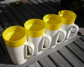 Raffiaware Yellow Cups Tumblers with Handles Set of 4