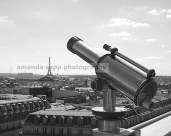 Paris View with telescope black and white photograph