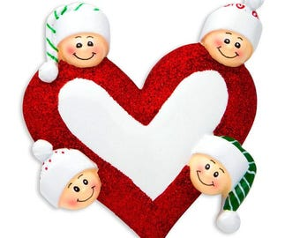 Heart with Faces 4 Personalized Christmas Ornament