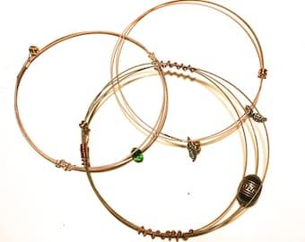 Repurposed Guitar String Bangle Bracelets-Various Styles!