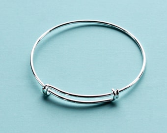 BULK 5 Adjustable Bangle Bracelet Silver Plated Brass High Quality Unique Double Loops - N124