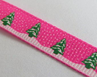 Pink Ribbon dark grosgrain patterned snowy trees