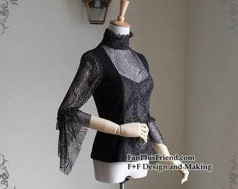 Exclusive Designer Fashion, Neo-ludwig Chiffon Lover-Waltz, Elegant Gothic Lolita Stand Collar Hime Cuff Cutsew