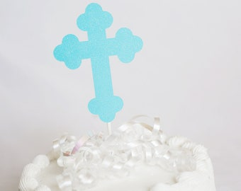 Sparkle Cross Cake Topper for  Baptism // Christening // Confirmation // First Communion - 3 1/2 inches
