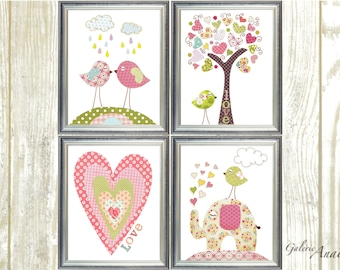 Baby Girl Nursery Decor Nursery Prints Baby Nursery Prints Kids art Tree Elephant Birds Heart Love Set of 4 prints