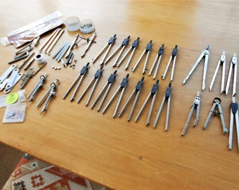 Vintage drafting compass huge lot Hearlihy Vemco Teledine Post Italy Germany points parts screws cases drafting drawing engineering tools