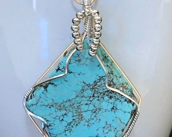 Turquoise Argentium Sterling Silver Wire Wrapped Pendant