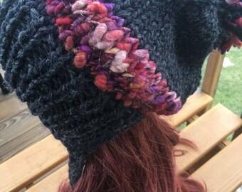 On sale! Knit slouchy hat, split brim slouchy hat, slouchy hat, pom hat, giant pom pom, pom-pom hat, handspun yarn, art yarn