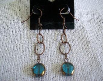 Long Copper Dangle Earrings