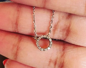 Tiny circle diamond pave choker necklace