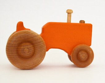 Personalized Wood Toy Tractor - Orange Wooden Toy Tractor - Push Toy - Waldorf Toy