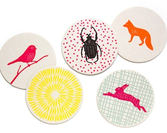 Letterpress Coaster Set   Woodland Animals   Set of 10