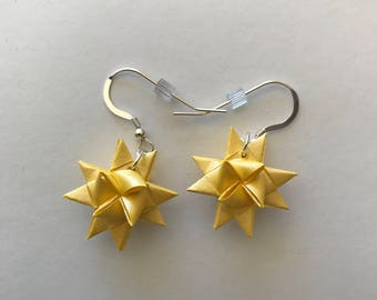 Moravian Star Earrings—Yellow Shimmer