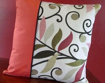 Coral Colored Pillow | 12x12 Pillow | Square Pillow | Black and Orange | Unique Decorative Pillow - Ready to ship