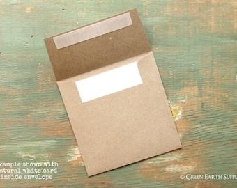 """100 Mini Square Folded 3"""" or 3 3/4"""" Cards & 3 1/4"""" or 4"""" Kraft Brown Envelope (Choose your card color, envelope comes standard Kraft Brown)"""