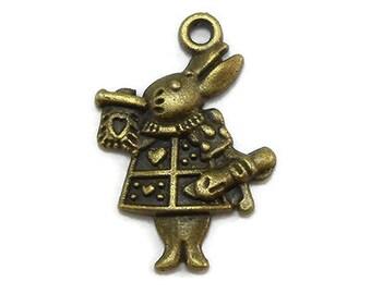 10 White Rabbit Charms Bronze Tone Metal (S216-cnt)