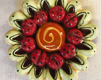 Yellow and Red 3D Flower Ceramic Mosaic Tile