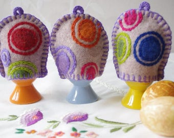 Felted Egg cozies, wool egg cozy, felted egg hats, Easter table decorations, Easter egg hats, Easter egg cozy, Easter home deccorations