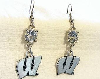 University of Wisconsin Earrings Badgers Rhinestone Game Day Earrings Stainless Steel