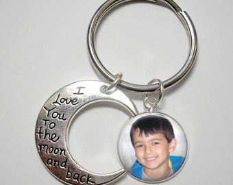I Love You to the Moon and Back Key Chain with Custom Photo Charm (s)