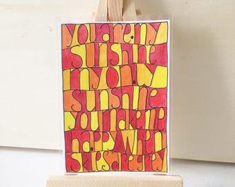 ACEO, You Are My Sunshine, song lyrics, ATC, art card