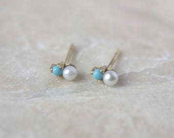 Turquoise & Pearl Tiny Earrings in 14 Karat Gold