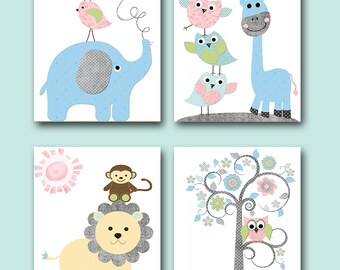 Baby Girl Baby Boy Nursery Decoration Elephant Giraffe Decor Baby Room Kids Decor for Childrens Kids Wall Art set of 4 Gray Blue Green