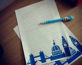London skyline - Print from home  - Printable stationery - Letter set - Snail mail - Writing paper - DIY instant download