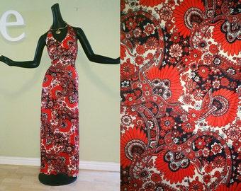 Mod Vintage 60s 70s Hippie Boho Maxi Dress 1970s Halter Dress Red White & Blue Groovy Flower Power Woodstock Earth Day Festival Size Medium