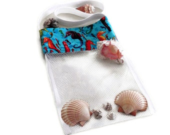 Mesh Sea Shell Bag, Shell Collecting Bag, Mesh Beach Bag, Pool Toy Bag, Kids Shell Tote Bag, Sand Beach Bag, Aqua Seahorse Beachcomber Bag