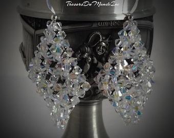 Swarovski Crystal earrings/Crystal Beaded earrings/Pearly white Glass beads/Dangle earrings/Bridal jewelry/Prom earrings/Friendship earrings