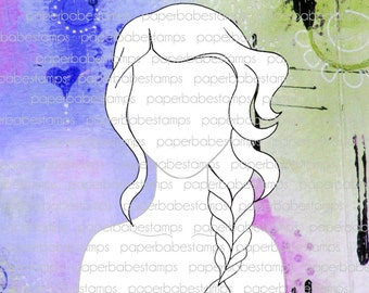 Mixed Media Templates ~ Loose Plait Portrait - Paperbabe Stamps - For mixed media, paper crafting and scrapbooking.