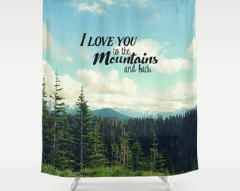 Fabric Shower Curtain, Bathroom Decor - Mountain Landscape, Forest Wilderness, Photography by RDelean Design