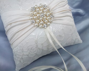 Ivory Ring Bearer Pillow Satin Sash Lace Ring Pillow Pearl Rhinestone Accent