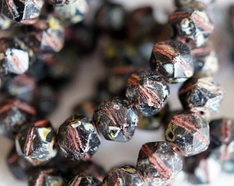 10mm English Cut Beads - Czech Glass Beads - Rustic Beads - Black Picasso Chunky Beads - Nugget Beads - Bead Soup Beads