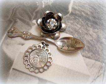 vintage silver findings spoon engraved joyce MGM grand hotel souvenir charm 3 d flower with rhinestone center